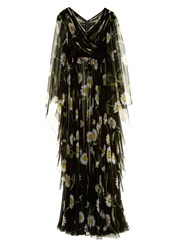 Dolce And Gabbana Daisy Print Crystal Belt Chiffon Gown