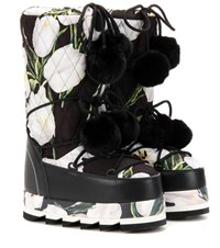 Dolce And Gabbana Floral Printed Platform Boots With Fur Multicoloured