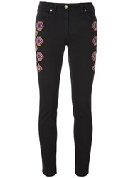 Etro Embroidered Side Skinny Trousers Black