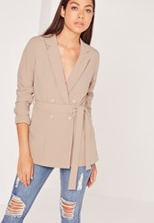 Missguided Double Breasted Tie Waist Blazer Tan Brown
