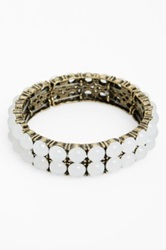 Spring Street 'Crystal Ball' Stretch Bracelet White