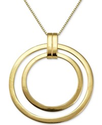 Macy's Polished Double Circle Pendant Necklace In 18K Gold Plated Sterling Silver Yellow Gold