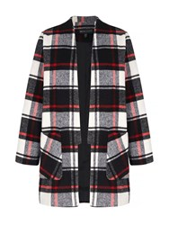 Mela Loves London Tartan Check Print Coat Black