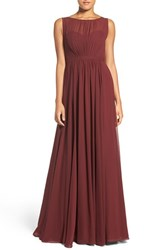 Jenny Yoo Women's 'Vivienne' Pleated Chiffon Gown Hibiscus