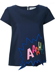 Mira Mikati Embroidered T Shirt Blue