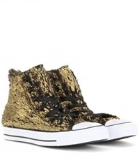 Converse Chuck Taylor All Star Metallic Faux Fur High Top Sneakers Gold