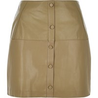 River Island Womens Green Leather Look Button Up Mini Skirt