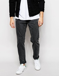 Asos Slim Jeans With Vintage Wash Darkgrey
