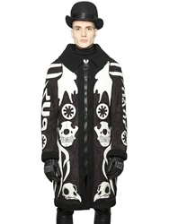 Ktz Faux Shearling Coat With Patches Black White