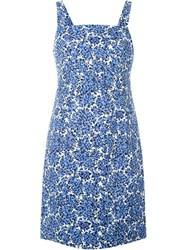 Michael Michael Kors Floral Print Sleeveless Dress Blue