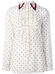Coach Ruffled Rabbit Print Shirt Nude Neutrals