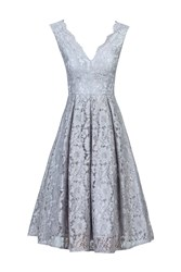Jolie Moi Scalloped V Neck Lace Prom Dress Grey