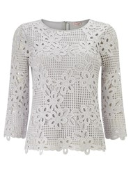 Phase Eight Marin Crochet Lace Blouse Grey