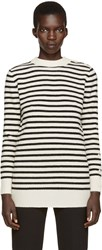 Maison Martin Margiela Off White And Black Striped Sweater