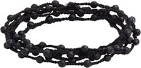 Feathered Soul Agate Bead And Braided Silk Wrap Bracelet Black