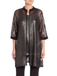 Armani Collezioni Caban Metallic Net Jersey Cardigan Grey Black