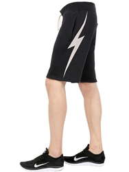 Lightning Bolt Cotton Blend Jogging Shorts Black Off White