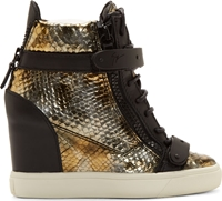 Giuseppe Zanotti Black And Bronze Wedge Some Lorenz Sneakers