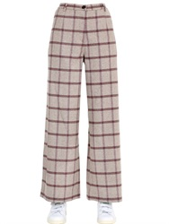 Monocrom Checked Wool Blend Wide Leg Pants