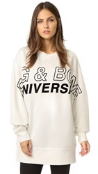 Rag And Bone Moto Oversized Graphic Pullover Ivory