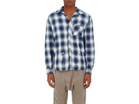 Nsf Men's Paint Splatter Plaid Cotton Shirt Blue