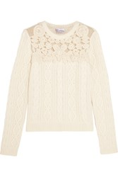Red Valentino Redvalentino Swiss Dot Tulle Paneled Cable Knit Sweater Cream