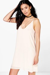 Boohoo Chiffon Strappy Detail Swing Dress Nude