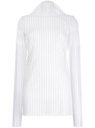 Robert Wun Ribbed Mock Neck Knitted Top White