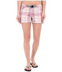 Columbia Cross On Over Ii Plaid Short Coral Blue Plaid Women's Shorts Pink