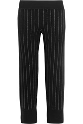 Opening Ceremony Metallic Pinstriped Cotton Blend Straight Leg Pants Black
