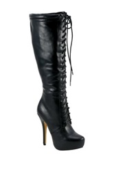 Nature Breeze Amber Lace Up Stiletto Boot Black