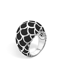 John Hardy Naga Sterling Silver Enamel Dome Ring With Black Enamel