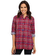 Hatley Plaid Pop Over Top Burgundy Ski Cross Women's Clothing Red