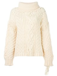 Philosophy Di Lorenzo Serafini Cable Knit Chunky Jumper Nude And Neutrals