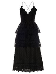 Self Portrait Tiered Lace Midi Dress Black