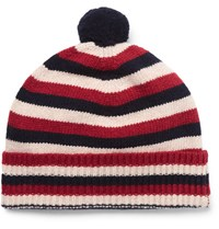 Oliver Spencer Striped Wool Bobble Hat Red