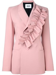 Msgm Ruffle Detail Blazer Pink And Purple