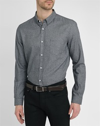 Melindagloss Navy Micro Pattern Patch Pockets Shirt With Hidden Buttons On Collar
