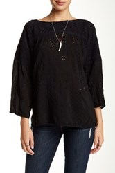 Johnny Was 3 4 Sleeve Embroidered Eyelet Blouse Black