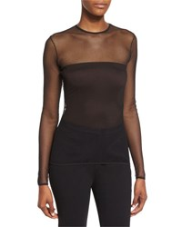 Max Mara Conico Mesh Yoke Long Sleeve Top Black