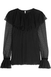 Philosophy Di Lorenzo Serafini Ruffled Point D'esprit Cotton Blend Blouse Black