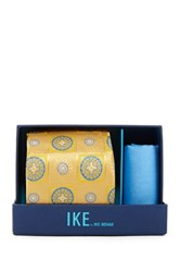 Ike Behar Charles Neat Silk Tie And Handkerchief Yellow