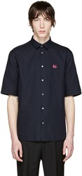 Mcq By Alexander Mcqueen Navy Embroidered Sheehan Shirt