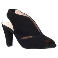 Carvela Comfort Arabella Cone Heel Open Toe Court Shoes Black Black Suede