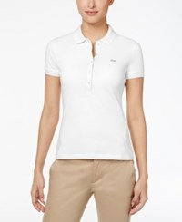 Lacoste Five Button Slim Fit Polo White