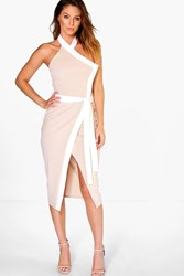 Boohoo High Neck Wrap Tie Contrast Midi Dress Stone