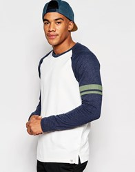 Abercrombie And Fitch Long Sleeved Colour Block Raglan T Shirt White