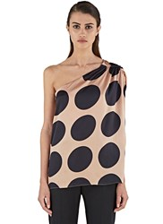 Stella Mccartney Polka Dot One Shouldered Top Pink