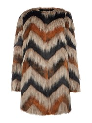 Biba Carved Faux Fur Coat Multi Coloured Multi Coloured