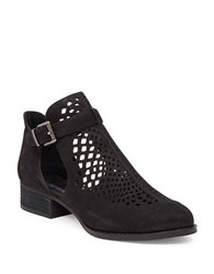 Vince Camuto Codey Perforated Suede Ankle Strap Booties Black